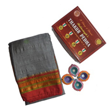Grey Irkal Saree with kasuti 2