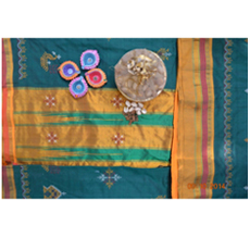 Green kasuti saree with yellow border 1