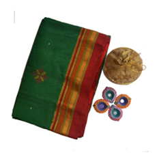 Green and red Irkal saree with kasuti 1