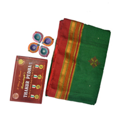 Green and red Irkal saree with kasuti 2