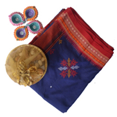 Poly cotton blue and red with kasuti saree 2