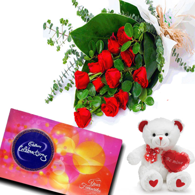 send Bunch of 10 Red Roses & cadbury celebration chocolates and teddy to solapur