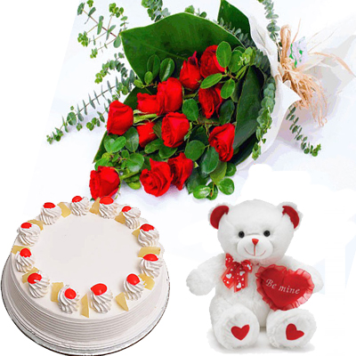 send Bunch of 10 Red Roses & 1/2 Kg pineapple cake and teddy to solapur