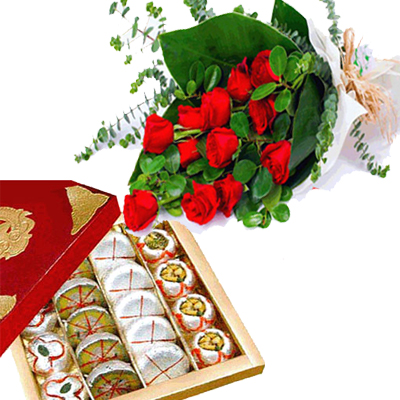 send Bunch of 12 Red Roses & 1/2 Kg Mixed Sweets to solapur